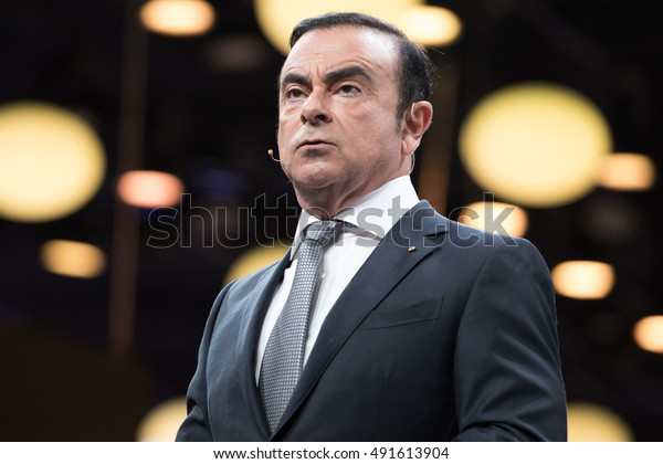 PARIS, FRANCE - SEPTEMBER 29, 2016 : CEO Renault Nissan Carlos Ghosn in press conference to introduce the concept car Trezor and the new battery life of the Renault Zoe at the the Paris motor show.