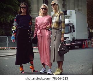 PARIS, France- September 29 2017: Erika Boldrin,Caroline Daur and Linda Tol on the street during the Paris Fashion Week
