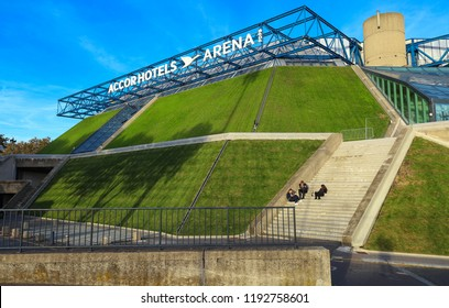 Paris, France - September 29, 2018: AccorHotels Arena is an indoor sports arena and concert hall, that is located on boulevard de Bercy, in the 12th arrondissement of Paris, France