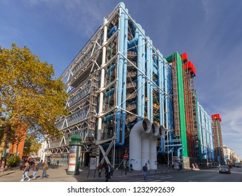 Paris, France - September 29, 2018: National Center of Art and Culture Georges Pompidou. One of the famous and most visited tourist attractions in Paris.