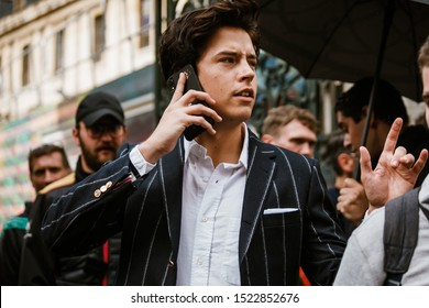 PARIS, FRANCE - SEPTEMBER 29, 2019: Cole Sprouse after THOM BROWNE fashion show at Paris Fashion Week Spring/Summer 2020.