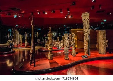 PARIS, FRANCE - SEPTEMBER 3 2017: Interior of Musee du Quai Branly. Museum featuring the indigenous primitive art and cultures of Africa, Asia, Oceania and Americas: masks, sculptures, costumes.