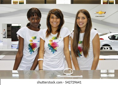 Paris, France - September 30, 2010: Beautiful hostesses on Paris Motor Show on September 30, 2010 in Paris.