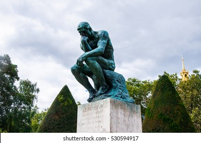 "PARIS, FRANCE - September 30, 2015: Statue of ""The Thinker"" in the park-museum of sculptures by Auguste Rodin in Paris, France."