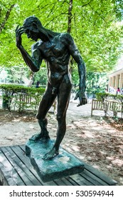 PARIS, FRANCE - September 30, 2015: Statue in Rodin Museum in Paris. The Museum Rodin, is a museum that was opened in 1919, dedicated to the works of the French sculptor Auguste Rodin.