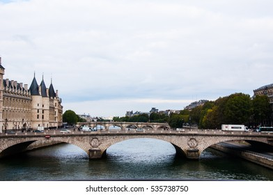 PARIS, FRANCE - September 30, 2015 : Museum of Modern Art in Paris, France and bridge. View from water river Siena.