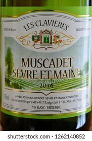 Paris; France - september 30 2018 : a bottle of les clavieres a muscadet sevre et maine