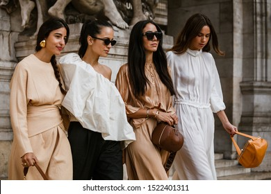 PARIS, FRANCE - SEPTEMBER 30, 2019: Bettina Looney, Anna Rosa Vitiello, Tamara Kalinic, Florrie Thomas before STELLA McCARTNEY fashion show at Paris Fashion Week Spring/Summer 2020.