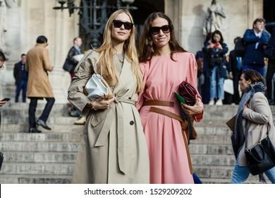 PARIS, FRANCE - SEPTEMBER 30, 2019: Erika Boldrin and Pernille Teisbaek are posing outside STELLA McCARTNEY show, during Paris Fashion Week Womenswear Spring/Summer 2020.
