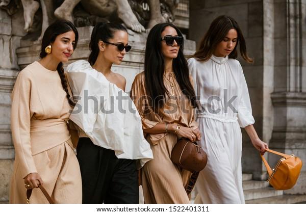 PARIS, FRANCE - SEPTEMBER 30, 2019: Bettina Looney, Anna Rosa Vitiello, Tamara Kalinic, Florrie Thomas before STELLA McCARTNEY fashion show at Paris Fashion Week Spring/Summer 2020.