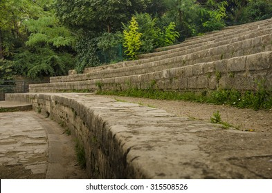 PARIS, FRANCE - SEPTEMBER 4, 2015: The stone bleachers at Arenes de Lutece are among the remains of one of the largest amphitheaters built by the Romans.