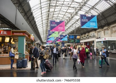 PARIS, FRANCE - SEPTEMBER 5 : French people and foreigner travlers walking and shopping at many shop inside of Gare de Paris-Est or Paris Gare de l'est station on September 5, 2017 in Paris, France
