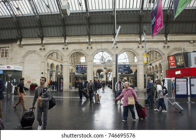 PARIS, FRANCE - SEPTEMBER 5 : French people and foreigner travlers walking in out and wait train at Gare de Paris-Est or Paris Gare de l'est railway station on September 5, 2017 in Paris, France