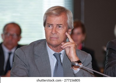 PARIS, FRANCE - SEPTEMBER 6, 2011: Bollore group CEO Vincent Bollore attends the round table on electric and hybrid vehicles at the French Ministry of Economy.