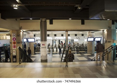 PARIS, FRANCE - SEPTEMBER 6 :French people and foreigner travlers walk and wait train at Gare de Paris-Est or Paris Gare de l'est railway station of Paris Metro on September 7, 2017 in Paris, France