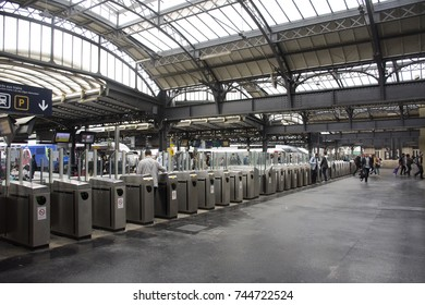 PARIS, FRANCE - SEPTEMBER 7 : French people and foreigner travlers walk and wait train at Gare de Paris-Est or Paris Gare de l'est railway station of Paris Metro on September 7, 2017 in Paris, France