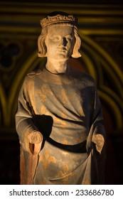 Paris, France - September 8, 2014: Paris - Sainte Chapelle. Statue of Louis IX  King of France