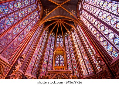 PARIS, FRANCE - SEPTEMBER 8, 2014: Interior of the famous Saint Chapelle on 8 September 2014. Sainte Chapelle is one of the most beautiful and tourist visited landmark in Paris.