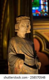 PARIS, FRANCE - SEPTEMBER 8, 2014:  Sainte Chapelle. Statue of Louis IX  King of France