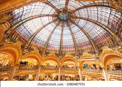 PARIS, FRANCE - SEPTEMBER 9, 2014: Galeries Lafayette interior in Paris. The architect Georges Chedanne designed the store where a Art Nouveau glass and steel dome was finished in 1912