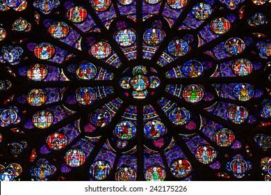 Paris, France - September 9, 2014: Paris, Notre Dame Cathedral. South transept rose window. UNESCO World Heritage Site. Paris, France