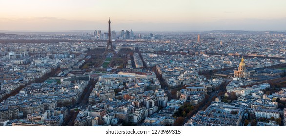 Paris France skyline in the evening