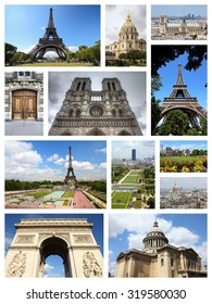 Paris, France - travel photo collage with Eiffel Tower, Notre Dame and Triumphal Arch.