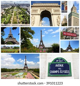 Paris, France - travel photo collage with Trocadero, Luxembourg Palace and Eiffel Tower.