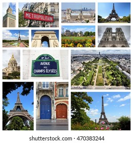 Paris, France - travel photo collage with Notre Dame, Luxembourg Palace and Eiffel Tower.