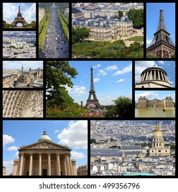 Paris, France - travel photo collage with Pantheon, Luxembourg Palace and Eiffel Tower.
