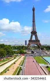 Paris, France - Trocadero gardens and Eiffel Tower