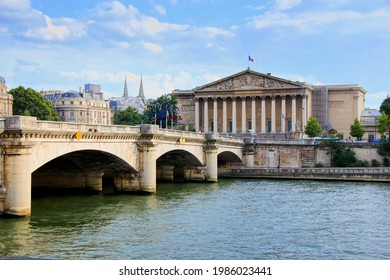 Paris, France, view across the Seine river to the Assemblee Nationale, the government building of France