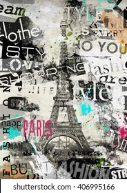 PARIS, FRANCE. Vintage illustration with Eiffel Tower (La Tour Eiffel) in Paris, France