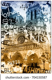 PARIS, FRANCE. Vintage illustration with Notre Dame de Paris.