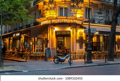 Paris, France-02 may 2018 : The French traditional cafe Au cepage Montmartrois located in Montmartre area at night.