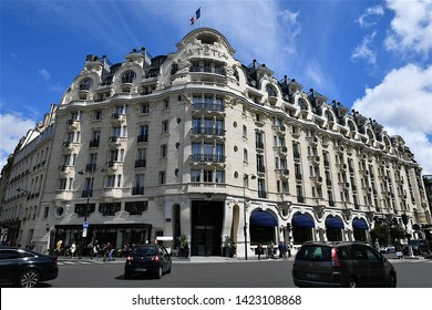 Paris, France-06 10 2019:The Hôtel Lutetia, is one of the best-known hotels on the Left Bank in Paris, France.The Lutetia was built in 1910 in the Art Nouveau style.