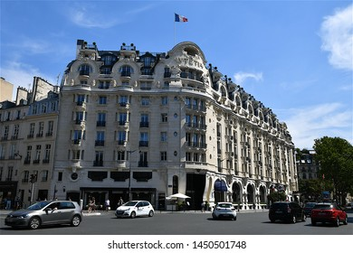 Paris, France-07 10 2019:The luxurious facade of the Hôtel Lutetia, built in 1910 in the Art Nouveau style, is one of the best-known hotels on the left bank.