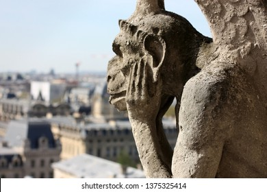 PARIS, FRANCE-18 April, 2018: Close up Strix chimera statue of Notre-Dame de Paris cathedral. One year prior to the fire on April 15, 2019