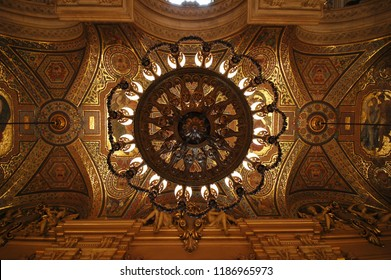 PARIS, FRANCE-23 JUL, 2018: Interior view of the Opera National de Paris Garnier, France. It was built from 1861 to 1875 for the Paris Opera house