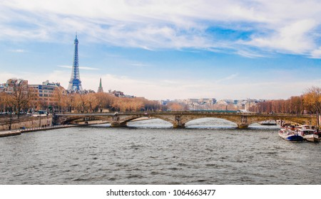 Paris, France-23 March: Scenic view on River Seine and Eiffel Tower in Paris