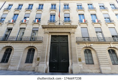 Paris, France-31 May, 2020 : The Ministry of National Education headquarters is located in the 18th century Hotel de Rochechouart on the rue de Grenelle in the 7th arrondissement of Paris.