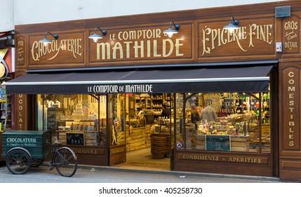 Paris, France-April 3, 2016: The traditional French  vintage style shop Le  Comptoir de Mathilde located at 42 rue Rambuteau in 3d arrondissement of Paris.