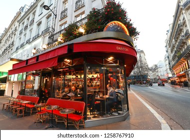 Paris, France-December 12 , 2018: The traditional French cafe Danon decorated for Christmas. . It located in Saint German district in Paris.