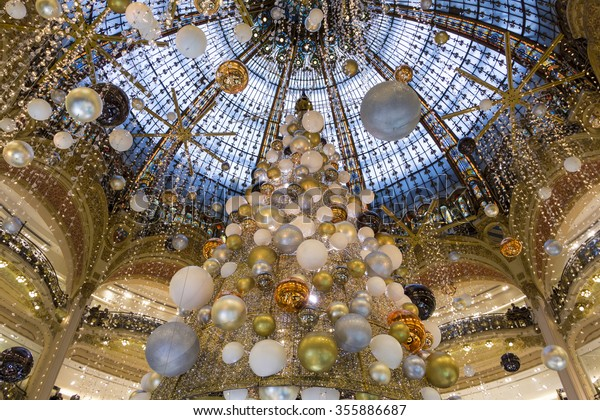 Paris; france-December 19 ; 2015: the Christmas decorations at shopping center Galeries Lafayette located boulevard Haussmann  in Paris; France.