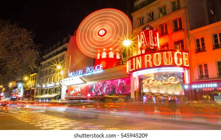 Paris, France-December 28; 2016 : The cabaret Moulin Rouge is located close to Montmartre in the Paris district of Pigalle on boulevard Clichy in the 18th arrondissement .