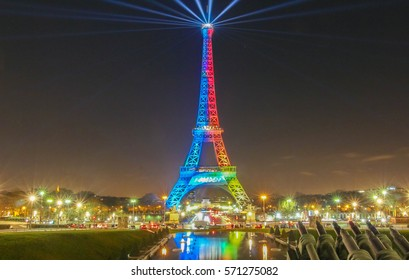 Paris, France-February 03,2017:The Eiffel tower lit with the colors of the Olympic flag supporting campaign for the 2024 Olympic Games in Paris, France