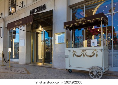 Paris, France-February 10, 2018: Angelina is the tearoom in center of Paris that became famous for its hot chocolate and pastries served in a sumptuous and elegant Belle Epoque decor.