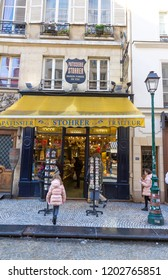 Paris, France-February 10, 2018 : Stohrer is the oldest cake shop In Paris, founded in 1730, located on famous Montorgueil street in Paris, France.