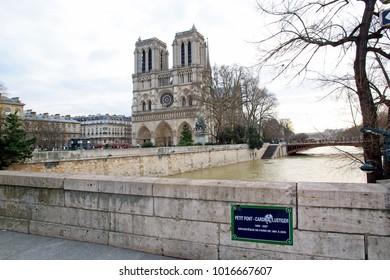 Paris, France,february 2018: The floods of the Seine, Paris France. Floods Paris winter, 2018.