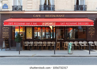 Paris, France-February 21, 2018 : The traditional French restaurant Gargamelle located in 9th district of Paris at rue Lafayette.